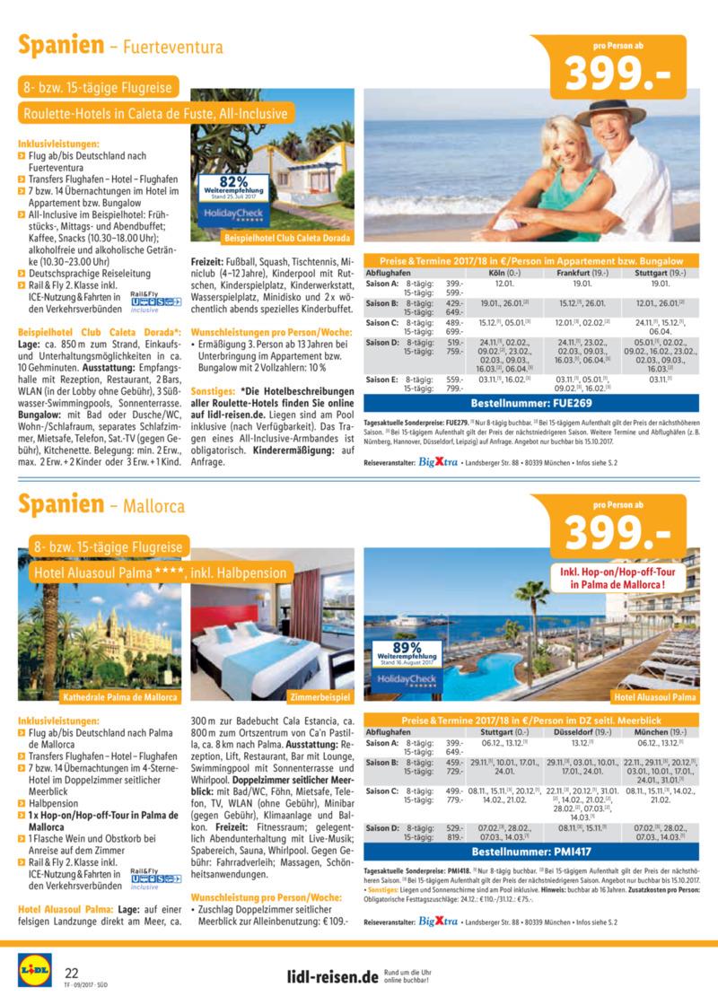 Lidl-Reisen Prospekt vom 15.09.2017, Seite 21