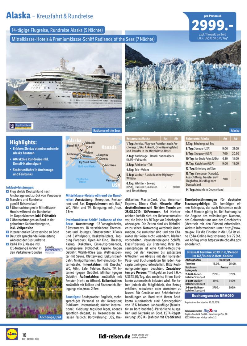 Lidl-Reisen Prospekt vom 01.09.2018, Seite 17