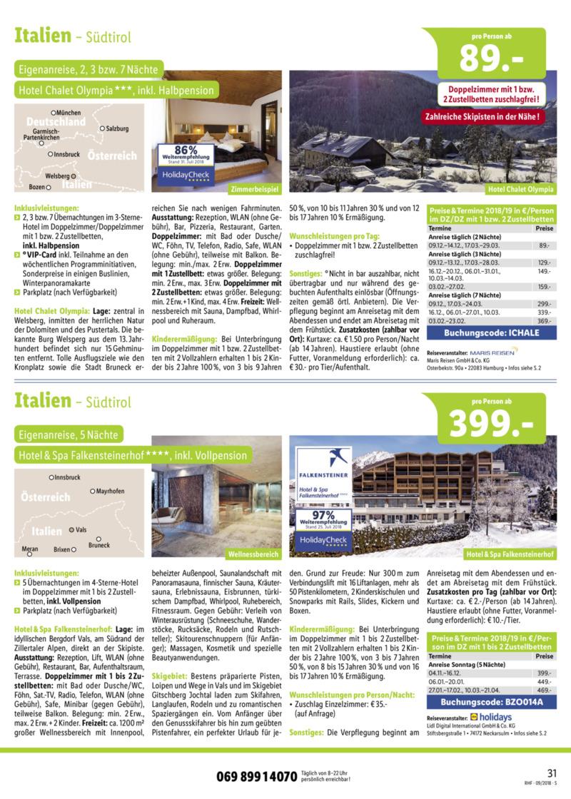Lidl-Reisen Prospekt vom 01.09.2018, Seite 30