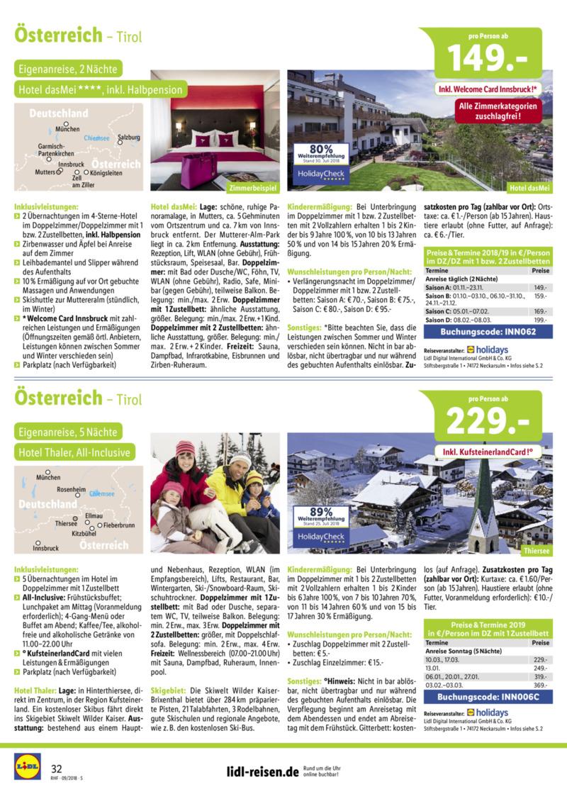Lidl-Reisen Prospekt vom 01.09.2018, Seite 31
