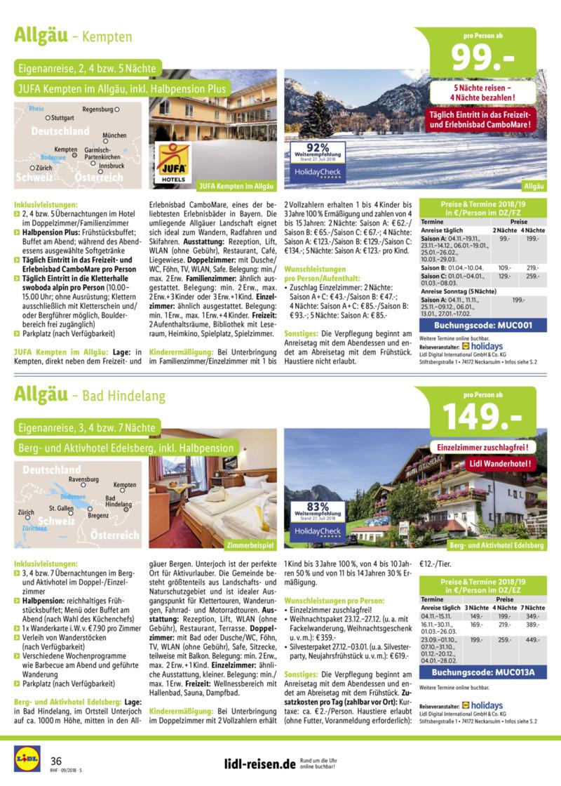 Lidl-Reisen Prospekt vom 01.09.2018, Seite 35