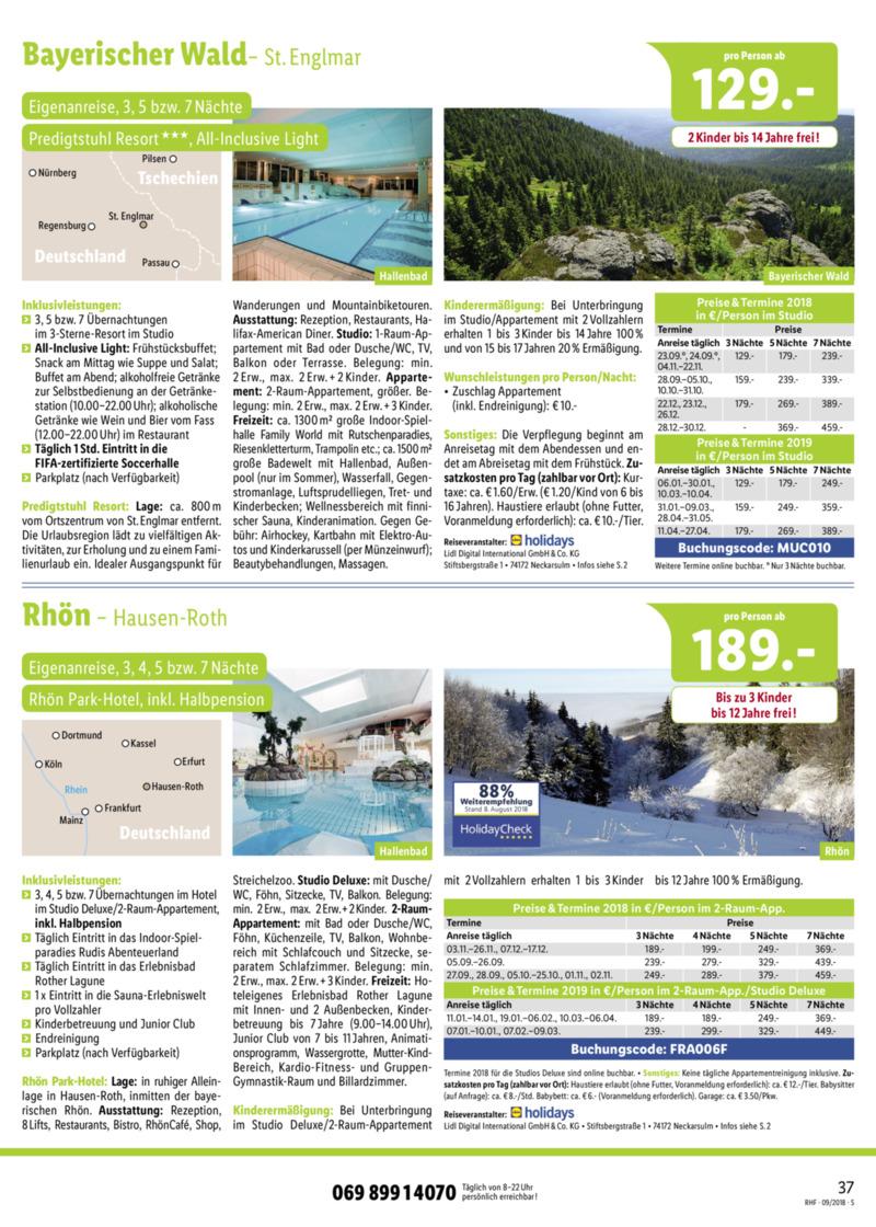 Lidl-Reisen Prospekt vom 01.09.2018, Seite 36