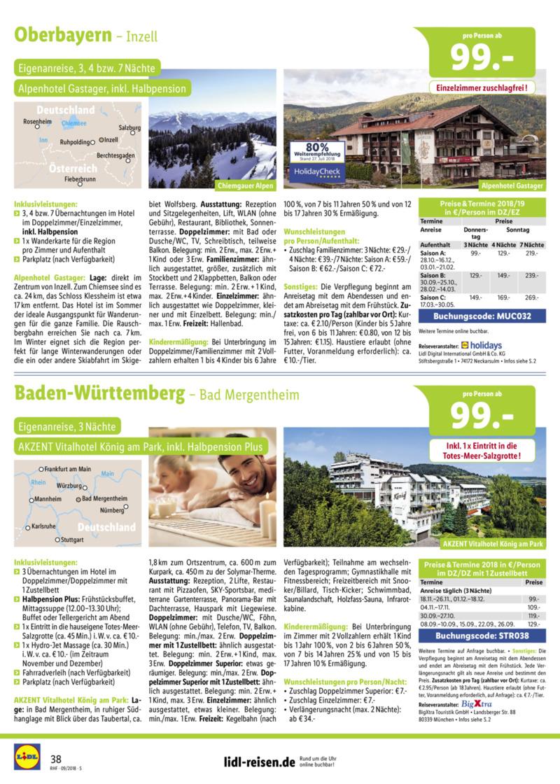 Lidl-Reisen Prospekt vom 01.09.2018, Seite 37