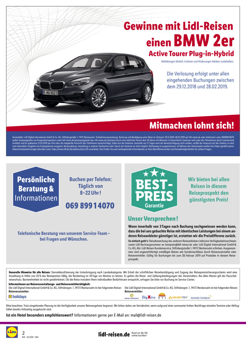 Lidl-Reisen Prospekt vom 01.02.2019, Seite 1