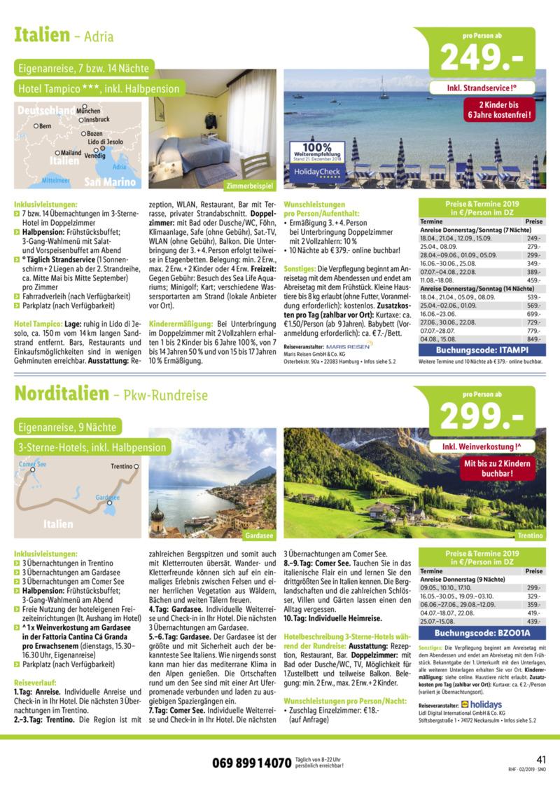 Lidl-Reisen Prospekt vom 01.02.2019, Seite 40