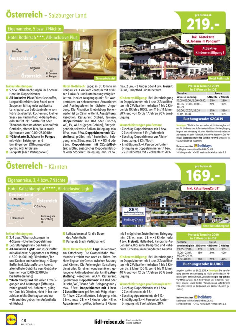 Lidl-Reisen Prospekt vom 01.02.2019, Seite 47