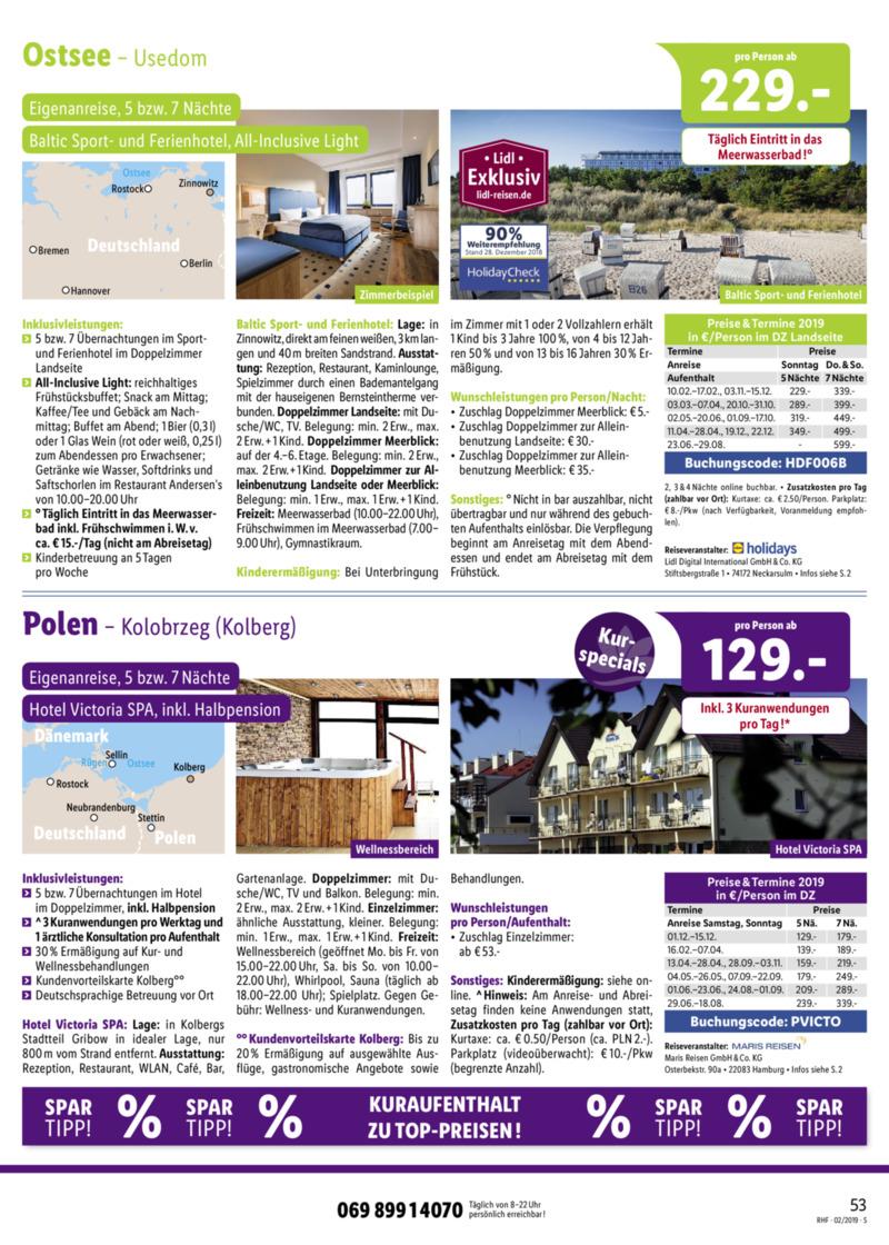 Lidl-Reisen Prospekt vom 01.02.2019, Seite 52