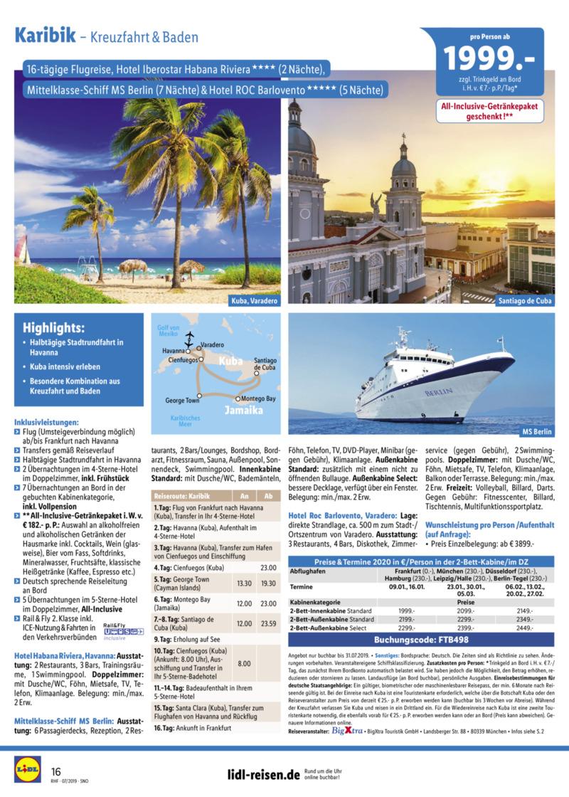 Lidl-Reisen Prospekt vom 01.07.2019, Seite 15
