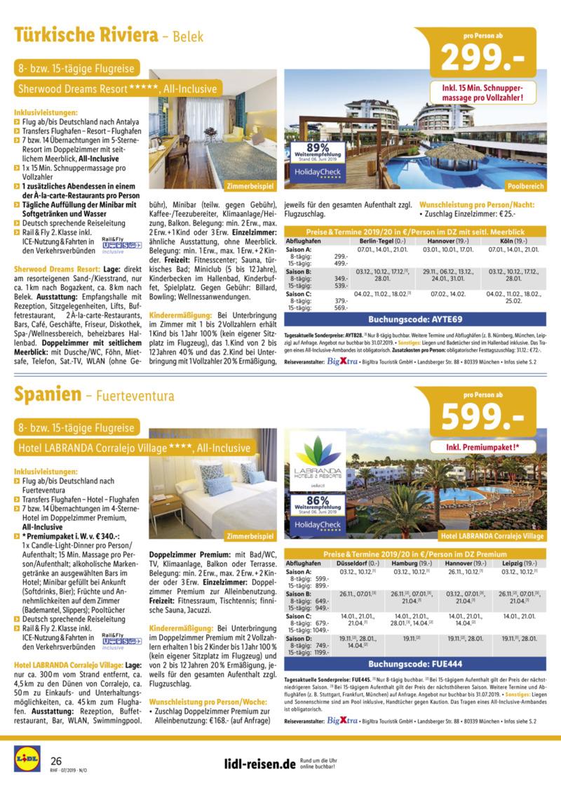 Lidl-Reisen Prospekt vom 01.07.2019, Seite 25