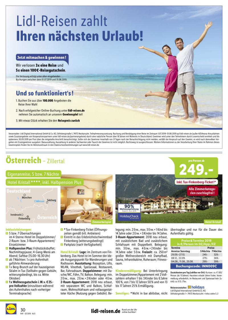 Lidl-Reisen Prospekt vom 01.07.2019, Seite 29