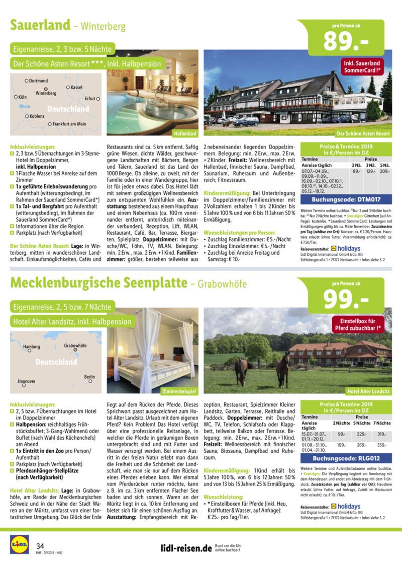 Lidl-Reisen Prospekt vom 01.07.2019, Seite 33