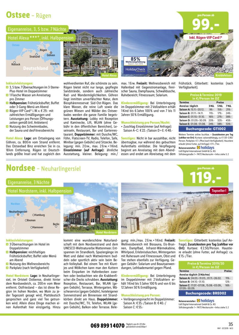 Lidl-Reisen Prospekt vom 01.07.2019, Seite 34