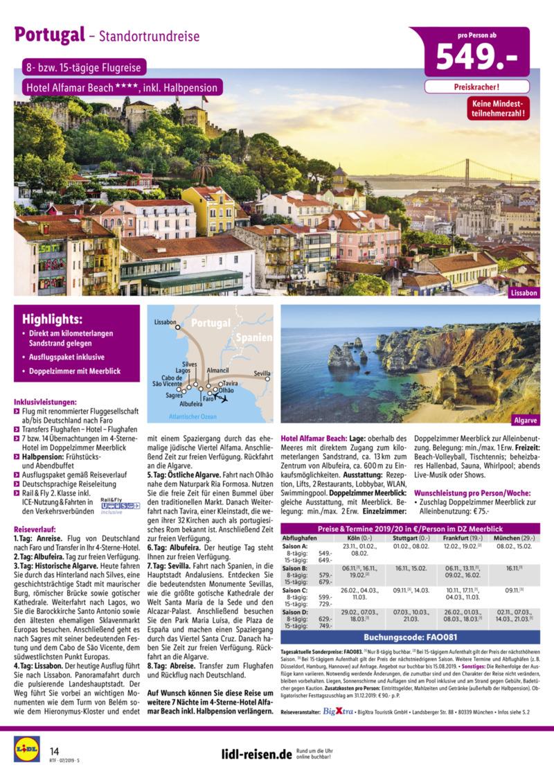 Lidl-Reisen Prospekt vom 15.07.2019, Seite 13