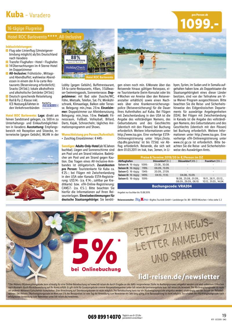 Lidl-Reisen Prospekt vom 15.07.2019, Seite 18