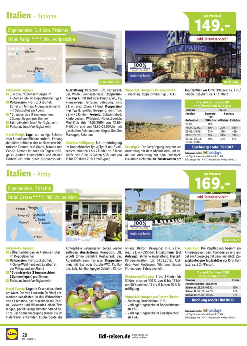 Lidl-Reisen Prospekt vom 15.07.2019, Seite 27