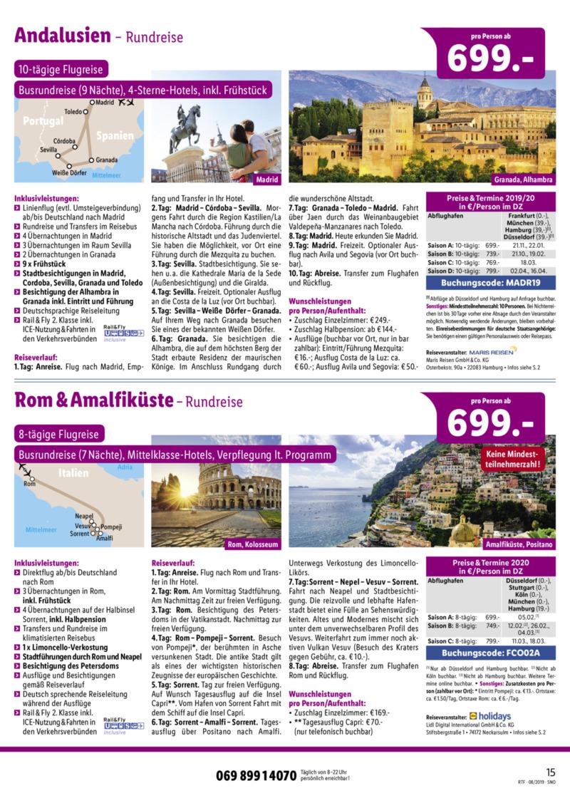 Lidl-Reisen Prospekt vom 15.08.2019, Seite 14