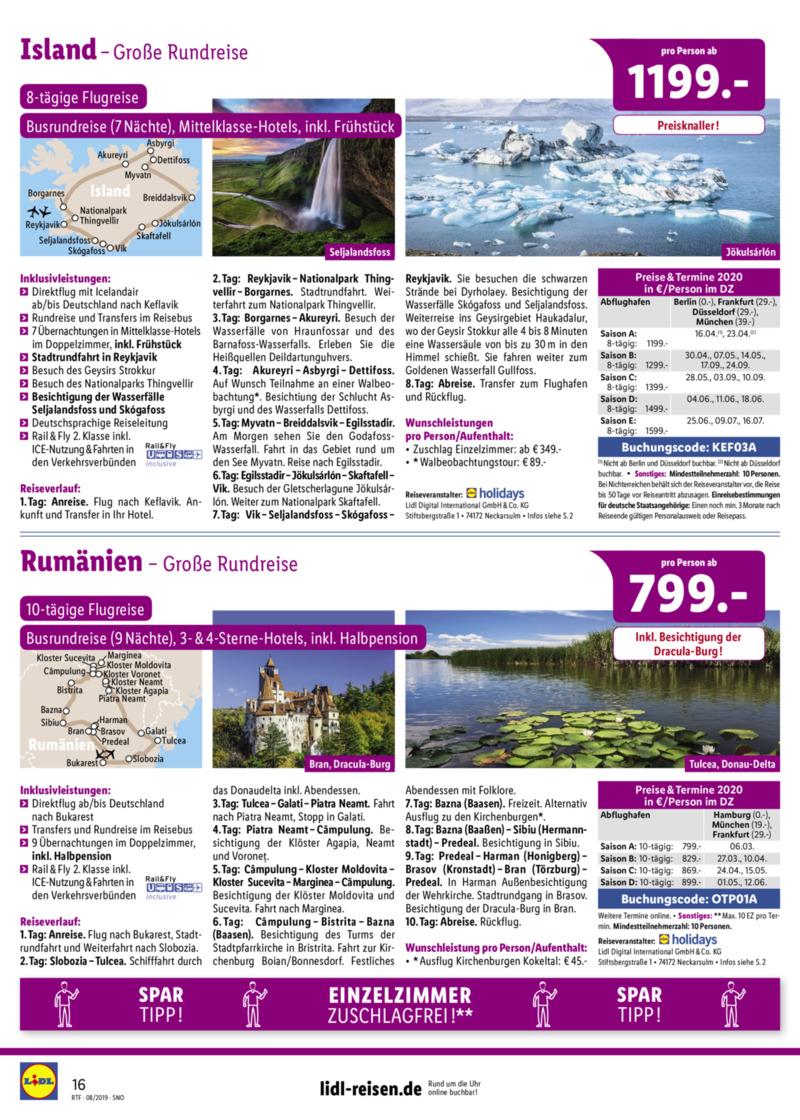 Lidl-Reisen Prospekt vom 15.08.2019, Seite 15