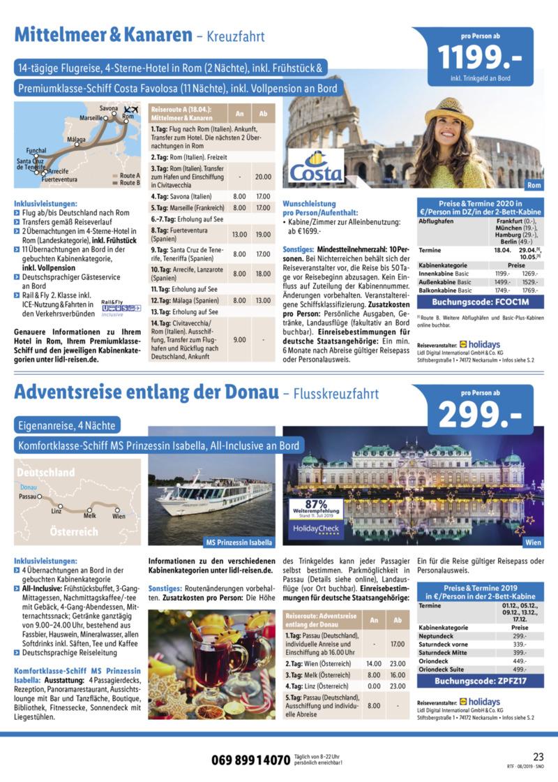 Lidl-Reisen Prospekt vom 15.08.2019, Seite 22