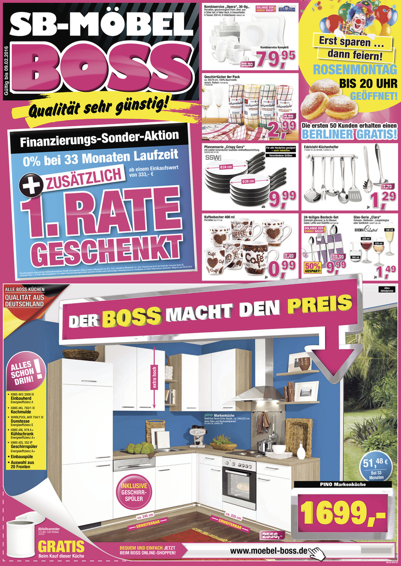 Möbel Boss Prospekt vom 03.02.2016