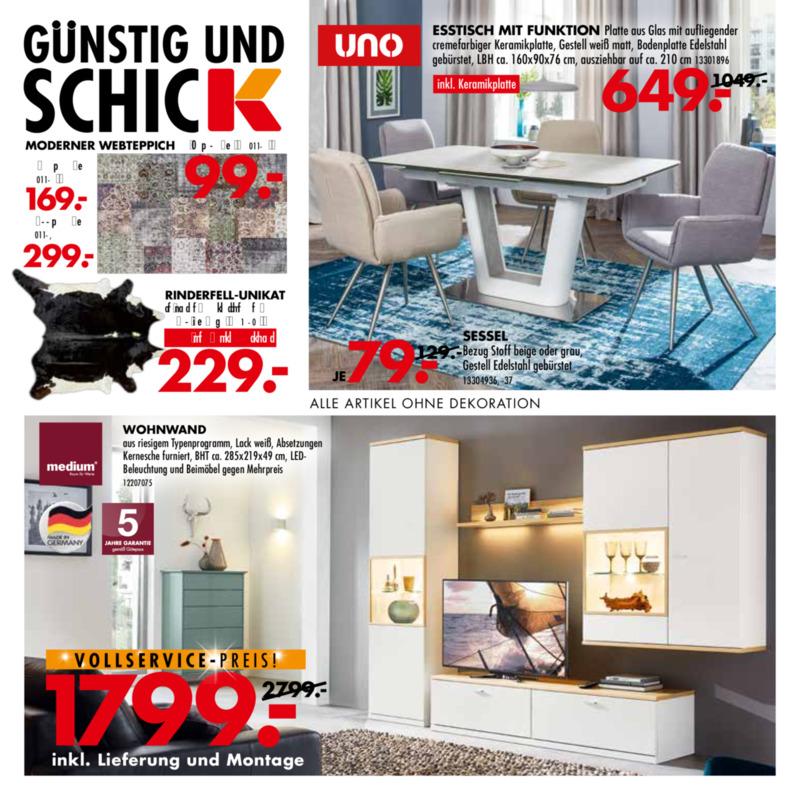 Möbel-Kraft Prospekt vom 21.08.2019, Seite 1