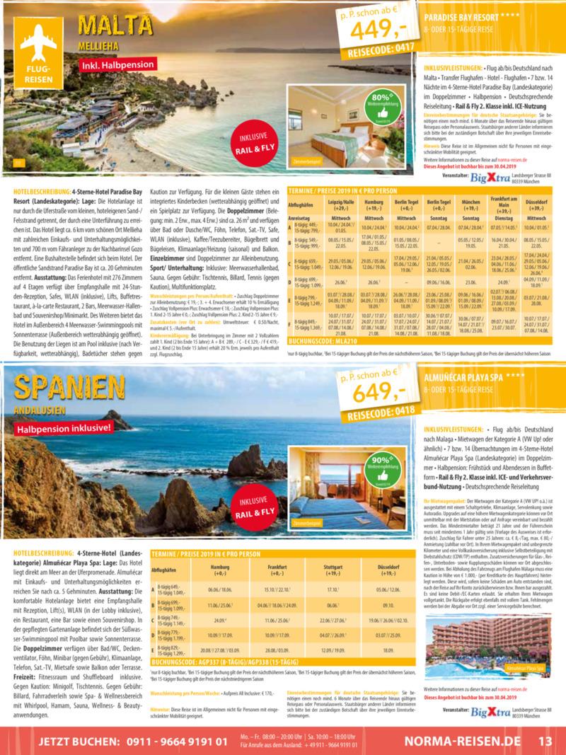 Norma-Reisen Prospekt vom 01.04.2019, Seite 12