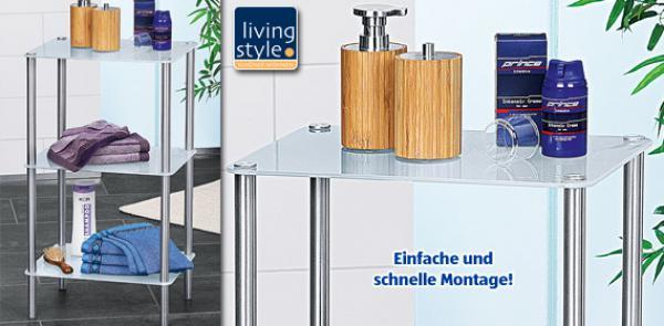 living style bad glasregal von aldi s d ansehen. Black Bedroom Furniture Sets. Home Design Ideas