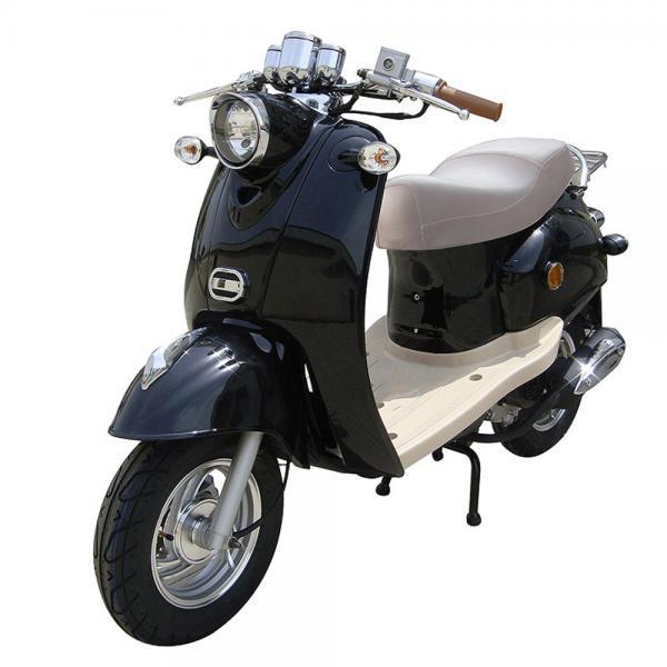 benzhou retro motorroller 49 ccm in schwarz von rossmann. Black Bedroom Furniture Sets. Home Design Ideas