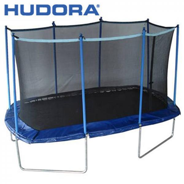 hudora trampolin oval mit sicherheitsnetz von rossmann. Black Bedroom Furniture Sets. Home Design Ideas