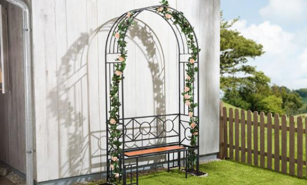 florabest rosenbogen mit sitzbank von lidl ansehen. Black Bedroom Furniture Sets. Home Design Ideas