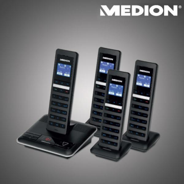 design dect telefon mit 4 mobilteilen und beleuchtetem. Black Bedroom Furniture Sets. Home Design Ideas