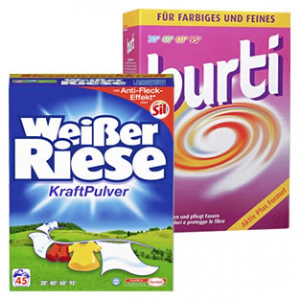 Weißer Riese, Spee Waschmittel-Pulver, Gel oder Burti Feinwaschmittel