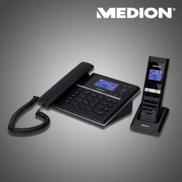 medion design telefon mit slim mobilteil und integriertem. Black Bedroom Furniture Sets. Home Design Ideas