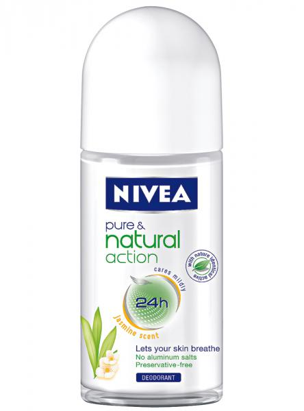 nivea pure natural action deodorant roll on jasmin von rossmann ansehen. Black Bedroom Furniture Sets. Home Design Ideas