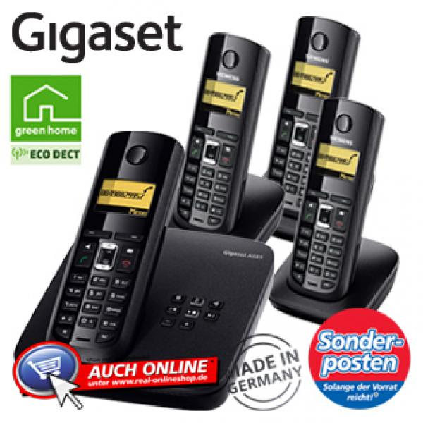 schnurlos dect telefon gigaset a585 quattro von real ansehen. Black Bedroom Furniture Sets. Home Design Ideas