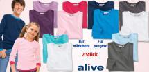 ALIVE® Kinder-Basic- Langarmshirts, 2 Stück