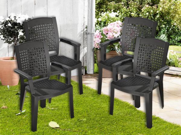 florabest 4er set stapelsessel anthrazit von lidl ansehen. Black Bedroom Furniture Sets. Home Design Ideas