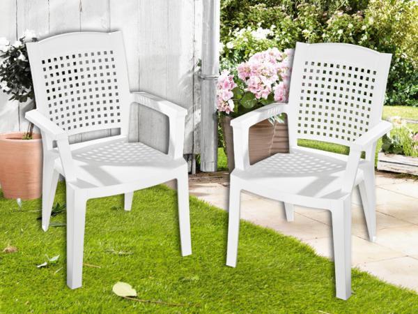 florabest 2er set stapelsessel wei von lidl ansehen. Black Bedroom Furniture Sets. Home Design Ideas