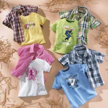 Karohemd/-bluse und T-Shirt