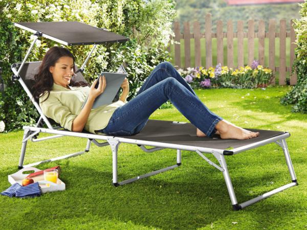 florabest alu liege mit sonnendach grau von lidl ansehen. Black Bedroom Furniture Sets. Home Design Ideas