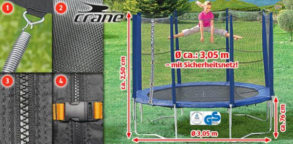 crane trampolin mit sicherheitsnetz von aldi s d ansehen. Black Bedroom Furniture Sets. Home Design Ideas