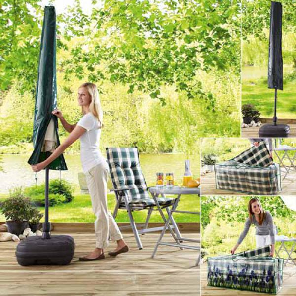 aufbewahrungstasche f r gartenstuhlauflagen schutzh lle f r sonnenschirme von aldi nord. Black Bedroom Furniture Sets. Home Design Ideas