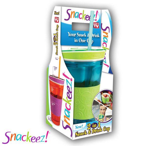 Snackeez! 2in1 Snack- & Trinkbecher Blau/Grün