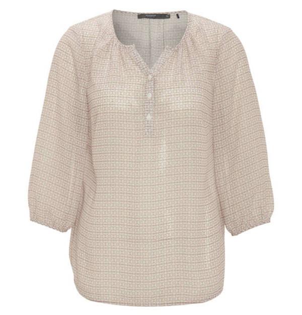 manguun collection Bluse, gemustert, leicht transparent, Knopfleiste,  V-Ausschnitt 34e2637653