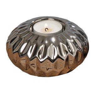 Teelichthalter - silber - Steingut - Ø 11,5 cm