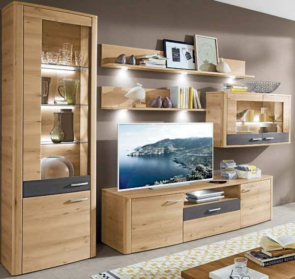 wohnwand buche iconic nachbildung grau von porta m bel ansehen. Black Bedroom Furniture Sets. Home Design Ideas