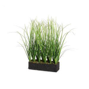 Grasreihe in Erde, grün, ca L:15 x B:5 x H:26 cm