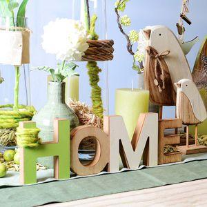 Schriftzug Home, Holz, hellgrün, ca L:36 x T:2 x H:11 cm