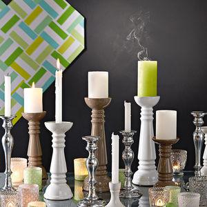 Kerzenleuchter, Steingut, weiß, ca D:11 x H:21 cm
