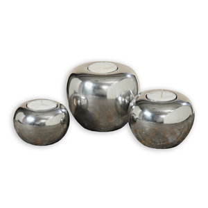 3-teiliges Teelichthalter-Set JOY - silber - Aluminium
