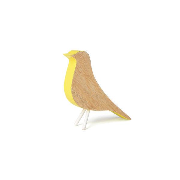Dekofigur Vogel, Holz, gelb, ca H:10 cm